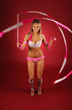 Stylish gymnast with ribbon. Royalty Free Stock Photography