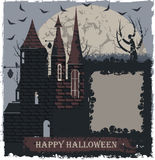 Stylish Halloween greeting card with witch castle. Halloween greeting card with witch castle. Stylish halloween background with castle, moon, tree, skulls and Royalty Free Stock Images