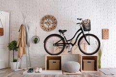 Stylish hallway interior with modern bicycle royalty free stock image