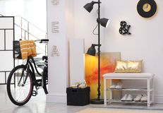 Stylish hallway interior with modern bicycle royalty free stock photography