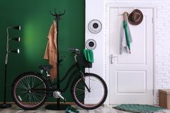 Stylish hallway with modern bicycle. Idea for interior decor stock photography