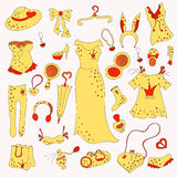 Stylish hand drawn composition of fashion items Royalty Free Stock Photo