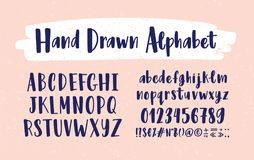 Stylish hand drawn english alphabet. Collection of upper and lower case letters arranged in alphabetical order, figures. And symbols handwritten with Royalty Free Stock Image