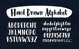 Stylish hand drawn english alphabet. Collection of upper and lower case letters arranged in alphabetical order, figures. And symbols handwritten with Stock Photo