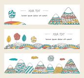 Doodle mountains, trees, sun and hills. Horizontal banners set. Stylish, hand drawn illustrations. Vector templates decorated in doodle style. Colorful, cartoon Royalty Free Stock Photography
