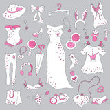 Stylish hand drawn set of women fashion items Stock Photos