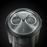 Stylish hand watch. Chrome on a black background Royalty Free Stock Photos
