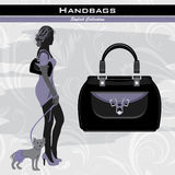 Stylish handbags. Elegant woman with little dog Stock Photo