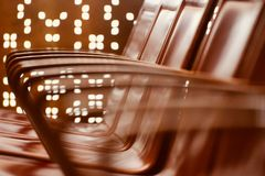Stylish handlebar of metallic chair  blurred background photograph Stock Photography
