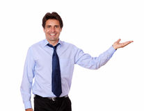 Stylish handsome businessman holding palm out Stock Images