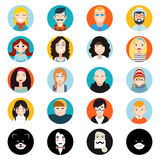 Stylish Handsome Male and Female Characters Avatar. Collection Faces Icons in Flat Design Vector Illustration Royalty Free Stock Images