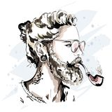 Stylish handsome man with beard and pipe.. Fashion man in sunglasses. Cool hand drawn hipster portrait. Sketch Royalty Free Stock Photo