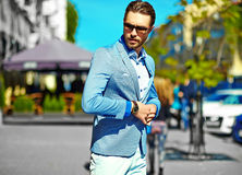 Stylish handsome manl in the street Royalty Free Stock Image
