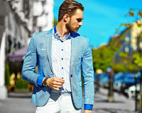 Stylish handsome manl in the street Stock Image
