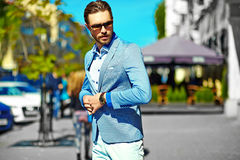 Stylish handsome manl in the street Stock Photos