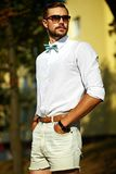 Stylish handsome model man in casual cloth Stock Photo