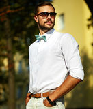 Stylish handsome model man in casual cloth Stock Photos