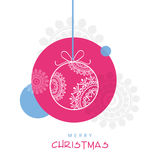 Stylish hanging X-mas ball for Merry Christmas celebration. Stock Photos