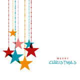 Stylish hanging stars for Merry Christmas celebration. Royalty Free Stock Photos