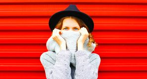 Stylish happy autumn portrait woman hides her face scarf Stock Photography