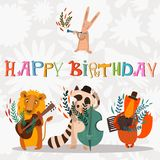 Stylish Happy birthday background. Animals - musicians on birthd Stock Image