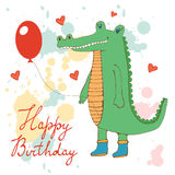 Stylish Happy birthday card with cute crocodile Royalty Free Stock Images