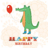 Stylish Happy birthday card with cute crocodile Stock Photography