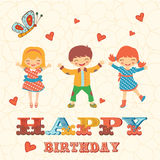 Stylish Happy birthday card with cute kids jumping Stock Image