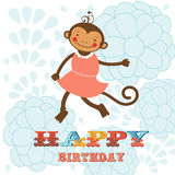 Stylish Happy birthday card with cute monkey Royalty Free Stock Photo