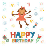 Stylish Happy birthday card with cute monkey Royalty Free Stock Images