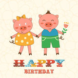 Stylish Happy birthday card with cute pigs couple Stock Image