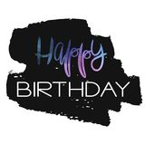 Stylish Happy Birthday Card template. Blue and purple watercolor script, on black smear background isolated on white. Trendy vector design for greeting cards Royalty Free Stock Image
