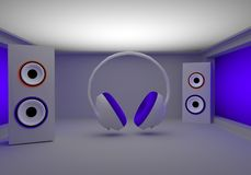 Stylish headphones and speakers Royalty Free Stock Photo