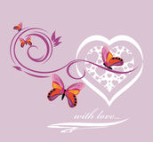Stylish heart with butterflies. Background Royalty Free Stock Photo