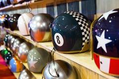 Stylish helmets on display. Colorful hsylish helmets on display Stock Photos