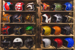 Stylish helmets on display at EICMA 2014 in Milan, Italy Royalty Free Stock Photography