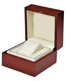 Stylish hi quality opened oak wooden leather case with delicat i. Nterior isolated over white royalty free stock images