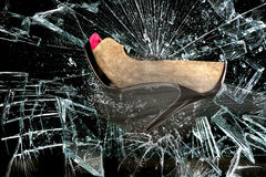 Stylish High Heels and Broken Glass. Royalty Free Stock Photos