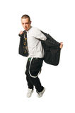 Stylish hip-hop youngster on white background Royalty Free Stock Images