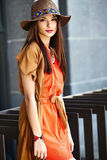 Stylish hippie woman model in summer cloth Stock Images