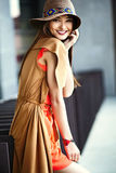 Stylish hippie woman model in summer cloth Stock Image