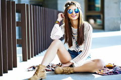 Stylish hippie woman model in summer cloth Stock Photo
