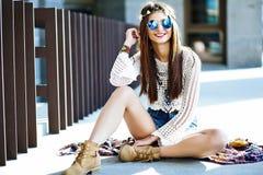 Stylish hippie woman model in summer cloth Stock Photo