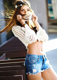 Stylish hippie woman model in summer cloth Royalty Free Stock Photography