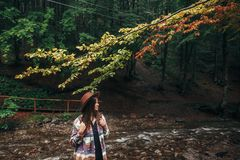 Stylish hipster girl in hat with backpack relaxing in forest in. Mountains. traveler woman exploring woods. travel and wanderlust concept. atmospheric moment Stock Image