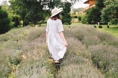 Stylish hipster girl in linen dress and hat walking in lavender field and relaxing. Happy bohemian woman enjoying lavender aroma. Back view. Atmospheric calm royalty free stock image