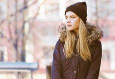 Stylish hipster girl. Street fashion Stock Images