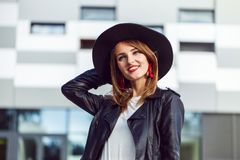 Hipster Girl in Leather Jacket Stock Images