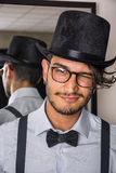 Stylish hipster with glasses and bow-tie Stock Photo
