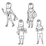 A stylish hipster man doodle set. Vector illustration Royalty Free Stock Image